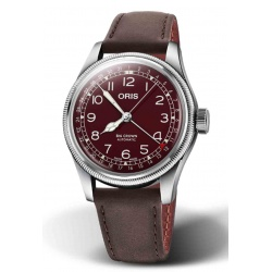ORIS BIG CROWN POINTER DATE 50 M ∅40 mm, Esfera roja, piel marrón castaño