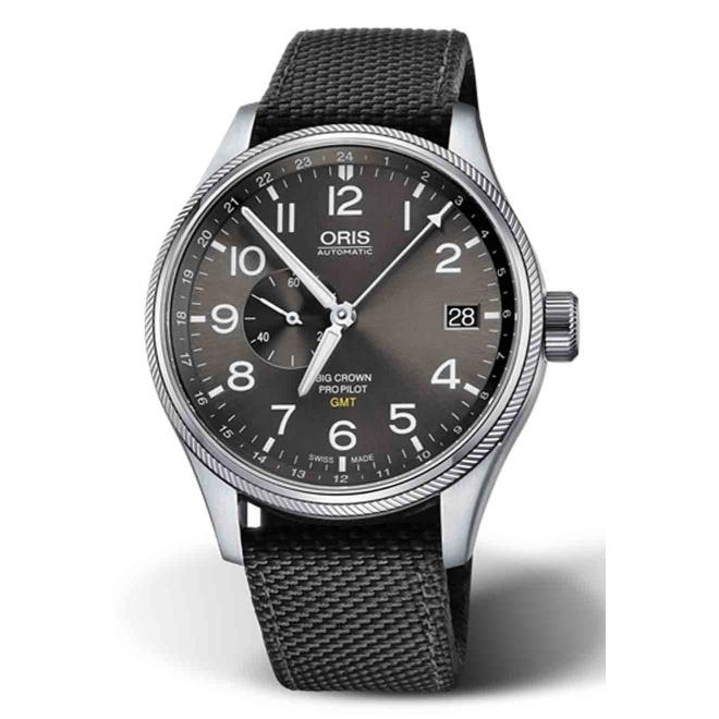 ORIS BIG CROWN PROPILOT GMT, SMALL SECOND - 100 M ∅45 mm, Automatico, Esfera gris, correa textil negra