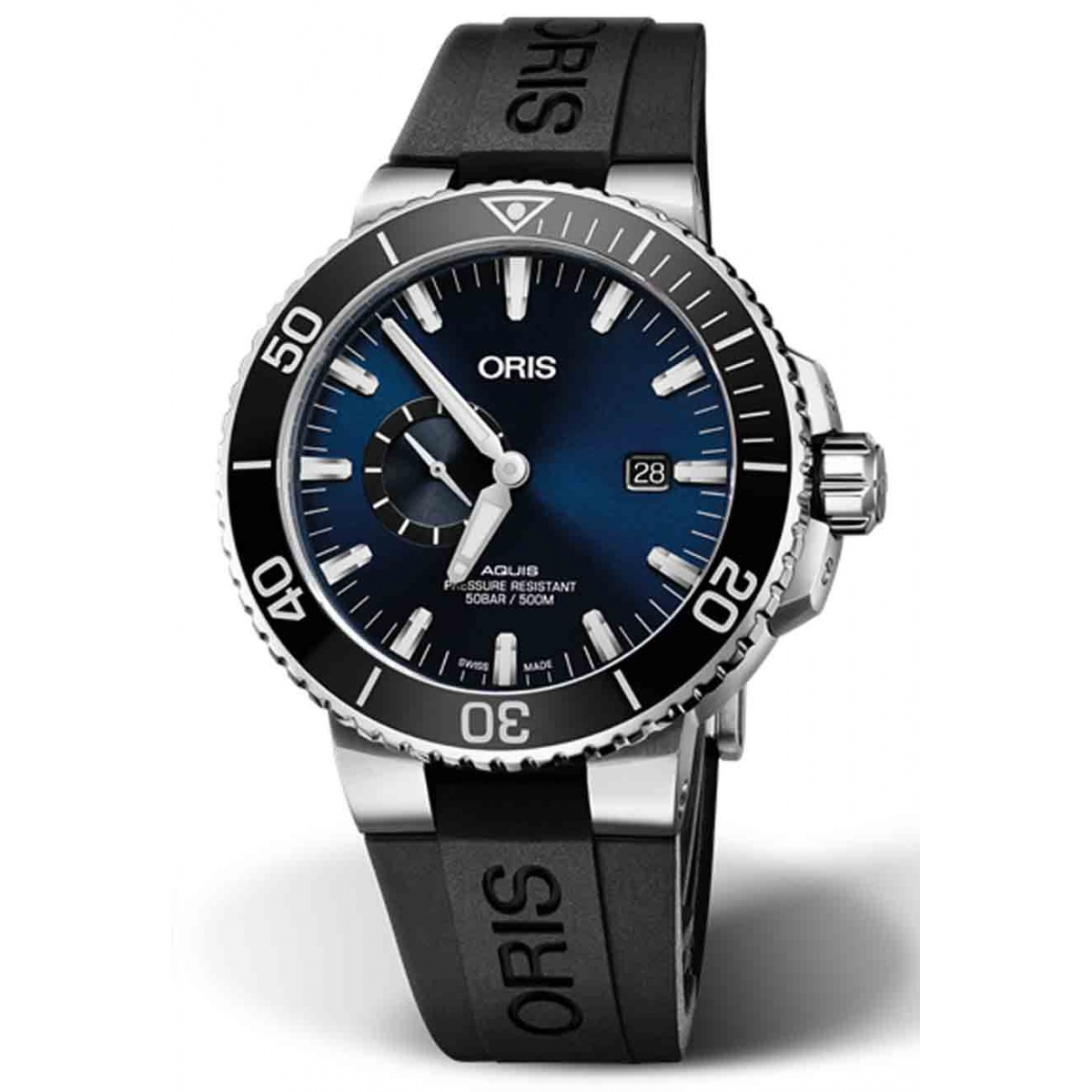 ORIS AQUIS SMALL SECOND, DATE -500 M ∅45,5 mm, Esfera azul, bisel negro, caucho negro