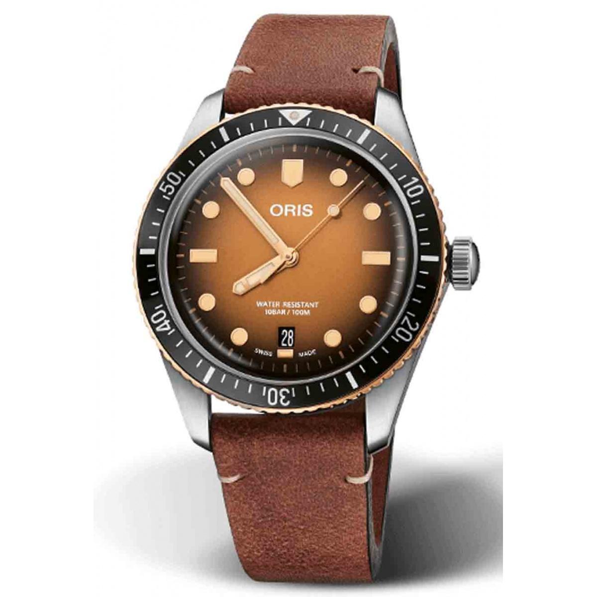 ORIS DIVERS SIXTY-FIVE 100 M ∅40 mm, Esfera castaña, piel marrón
