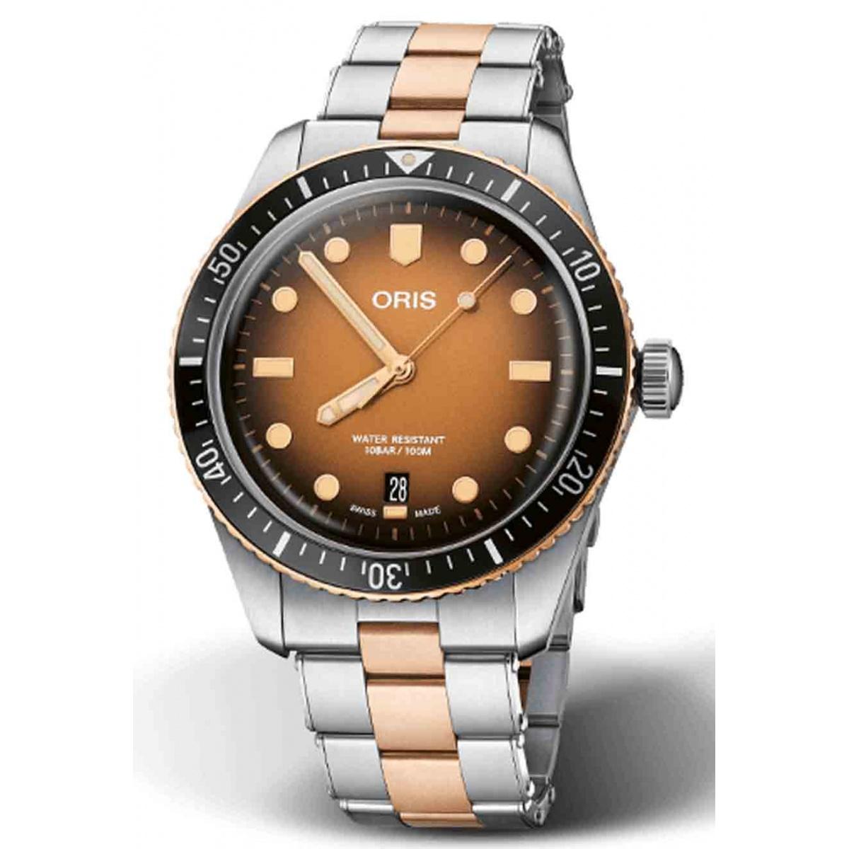 ORIS DIVERS SIXTY-FIVE 100 M ∅40 mm, Esfera castaña, brazalete acero y bronce