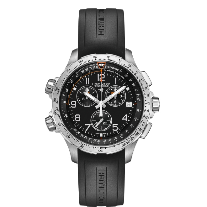 Hamilton Khaki Aviation X-Wind Chrono Quartz GMT 46mm Caucho