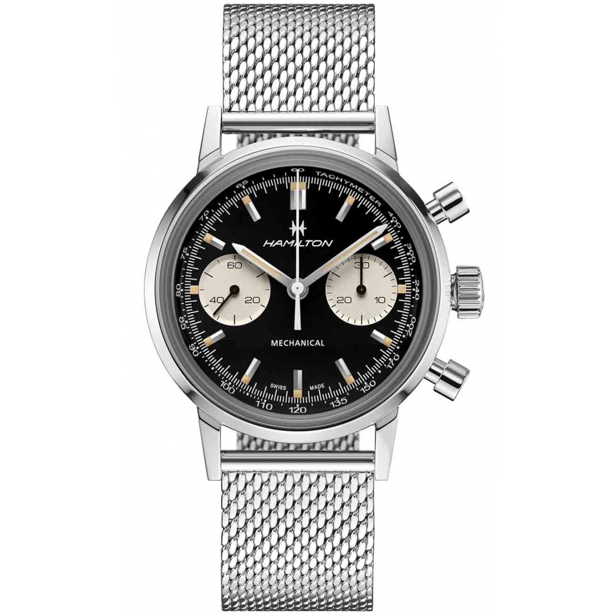 Hamilton American Classic Intra-Matic Chronograph H Mecánico 100 M - ∅40 mm, Esfera negra, acero