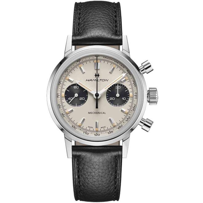 Hamilton American Classic Intra-Matic Chronograph H Mecánico 100 M - ∅40 mm, Esfera blanca, piel