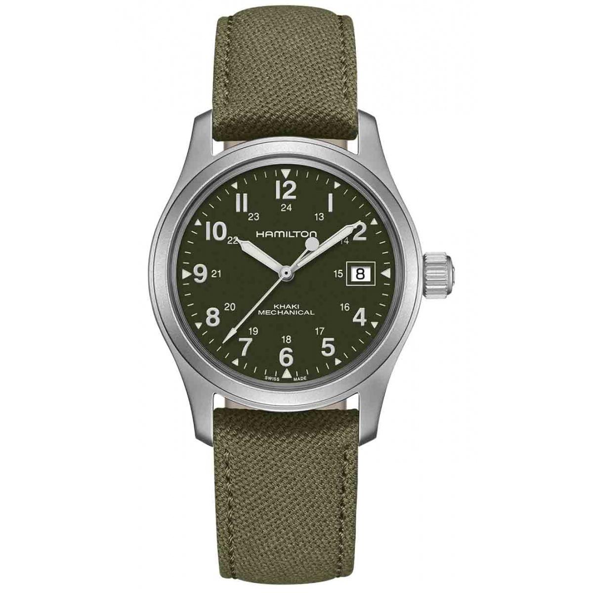 Hamilton Khaki Field Officer Handwinding - 50 M - ∅38 mm, Esfera verde, correa verde - Calibre H-50