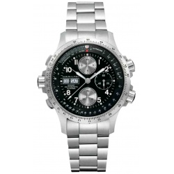 HAMILTON KHAKI AVIATION X-WIND AUTO CHRONO 100 M - ∅44 mm, Esfera negra, brazalete de acero