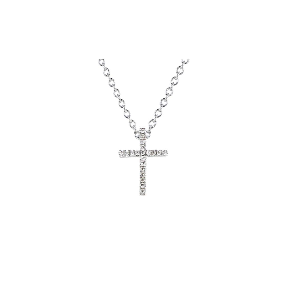 Colgante de oro blanco con cadena y una cruz de oro blanco y diamantes de 12x9mm (0.06 ct. GH-VS)