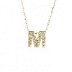 Collar de oro con inicial M 7X7MM