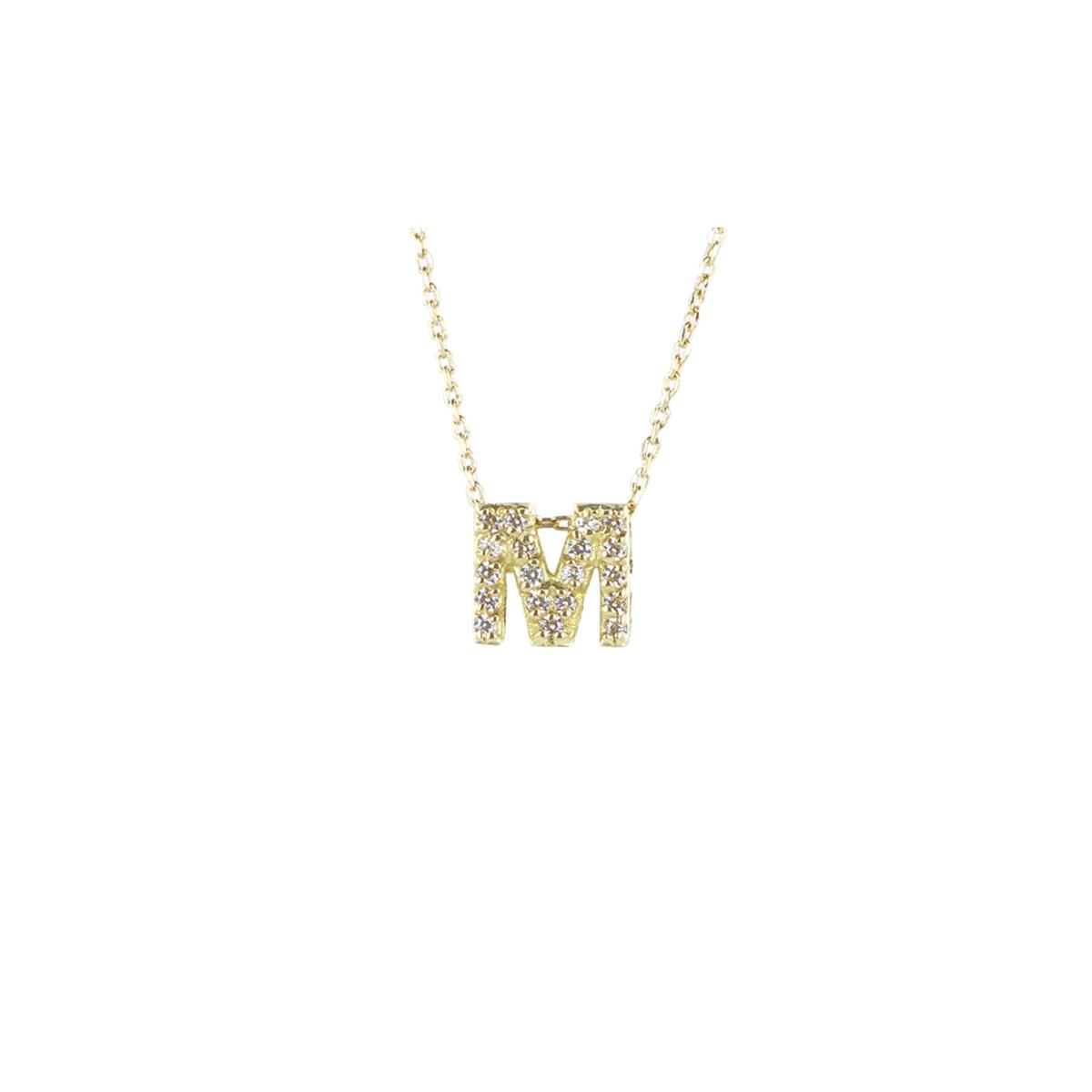 Collar de oro blanco con inicial M 7X7MM