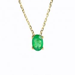 Colgante de oro amarillo con esmeralda de talla oval de 6 mm