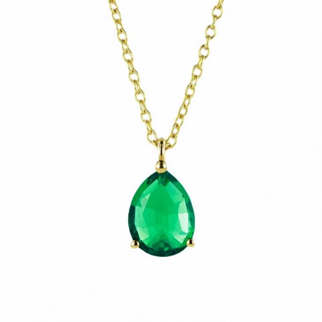 Colgante de oro amarillo con esmeralda de talla pera de 9x7 mm
