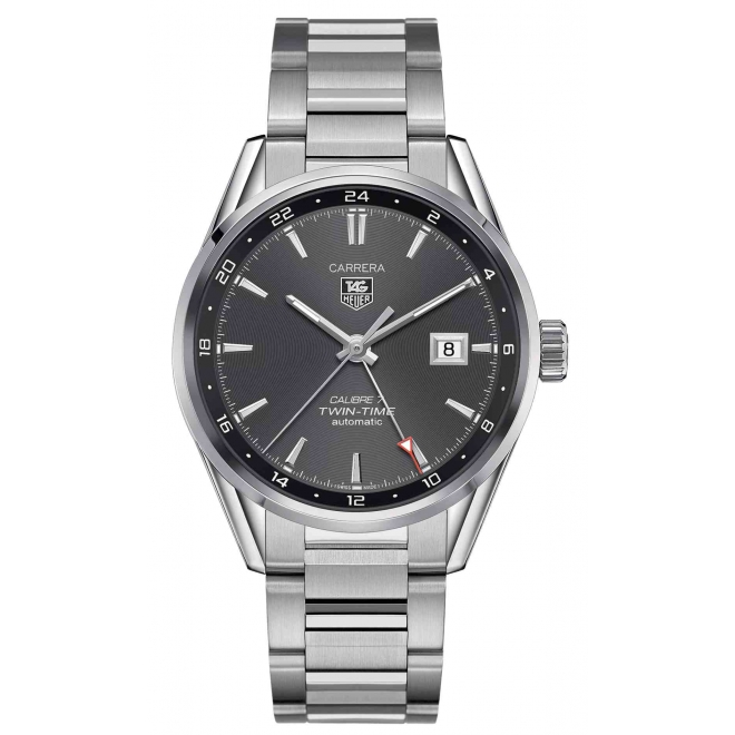 Carrera Calibre 7 Twin Time 100 M - ∅41 mm Esfera gris Acero