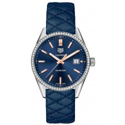 Carrera Lady 100 M - ∅39 mm Esfera azul brillantes piel