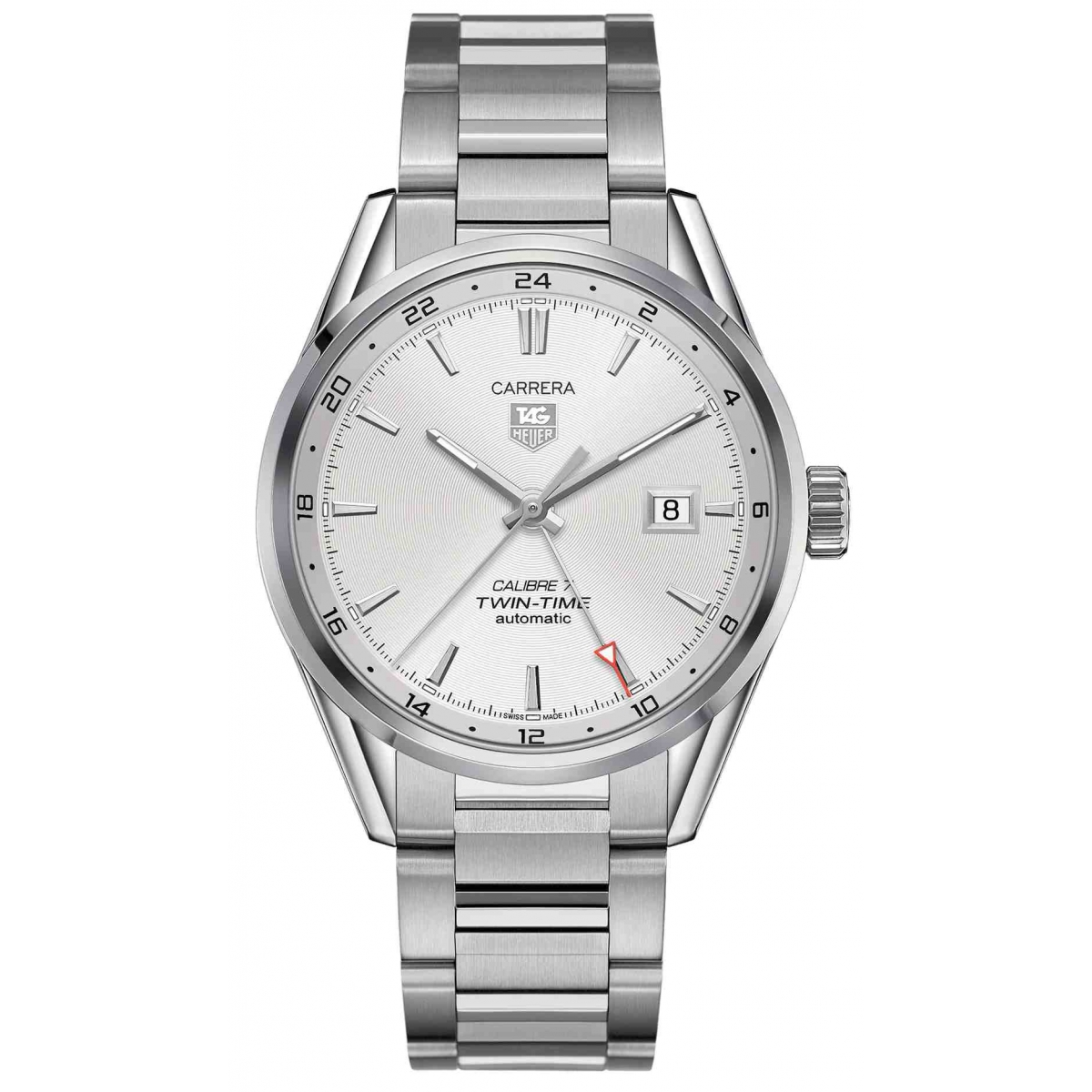 Carrera Calibre 7 Twin Time automático 100 M - ∅41 mm esfera plateada acero