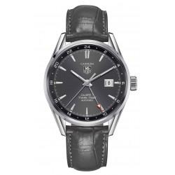 TAG Heuer CARRERA Calibre 7 Twin Time Reloj automático 100 m - ∅41 mm esfera gris piel