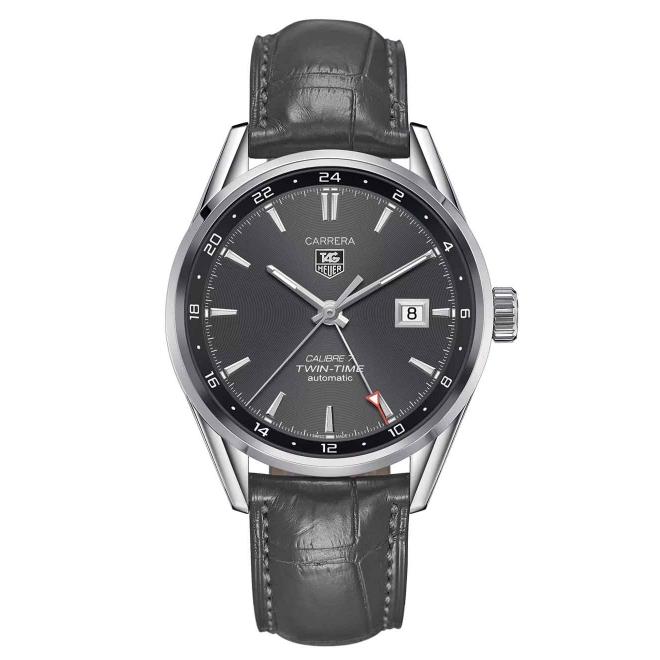 CARRERA Calibre 7 Twin Time Reloj automático 100 m - ∅41 mm esfera gris piel