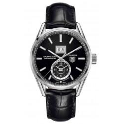 CARRERA Calibre 8 GMT Reloj automático 100 M - ∅41 mm, Esfera negra, piel negra