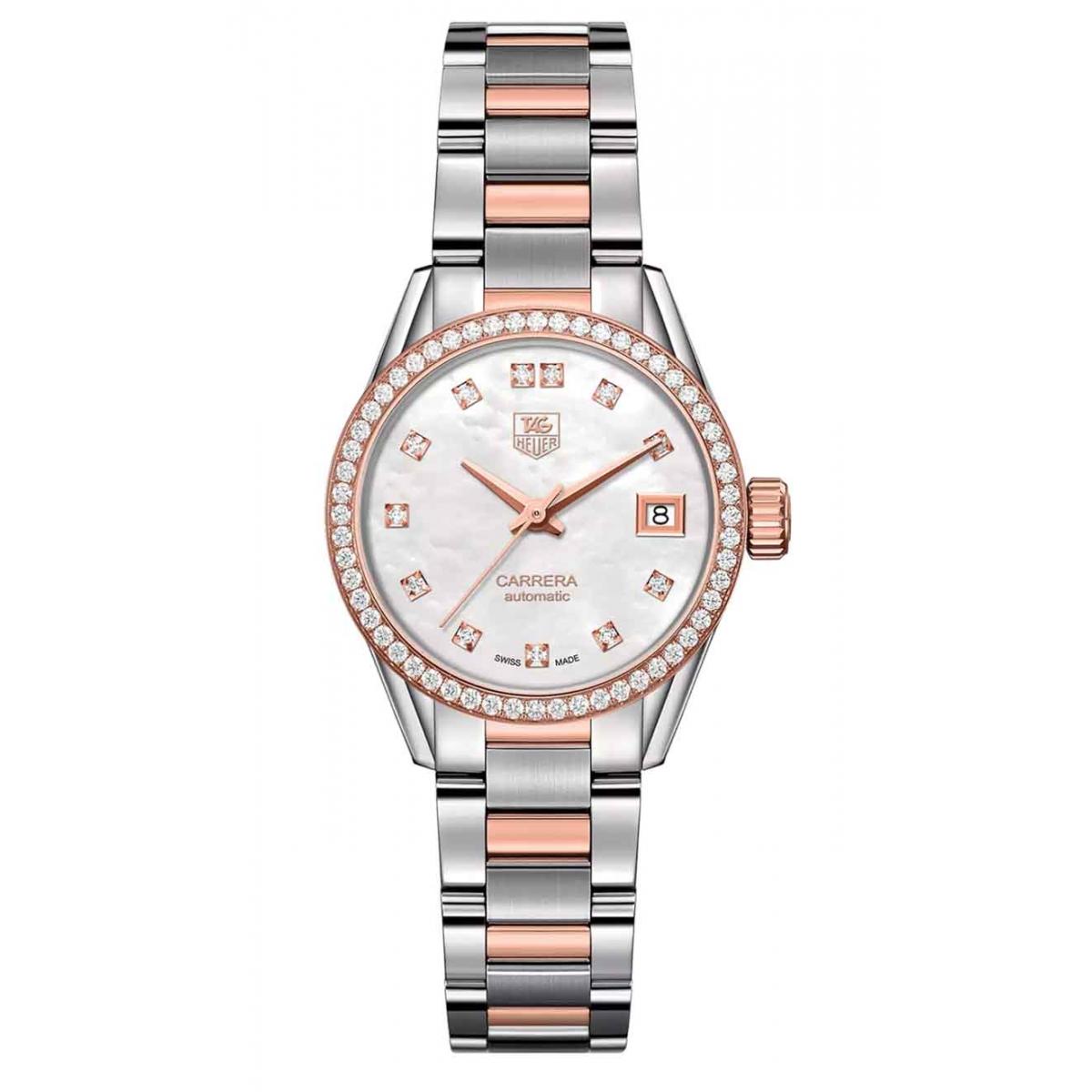 CARRERA Lady Calibre 9 Reloj automático 100 M - ∅28 mm Acero, diamantes y oro rosa