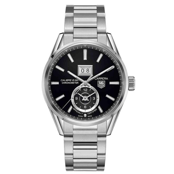 CARRERA Calibre 8 GMT Reloj automático 100 M - ∅41 mm, Esfera negra acero