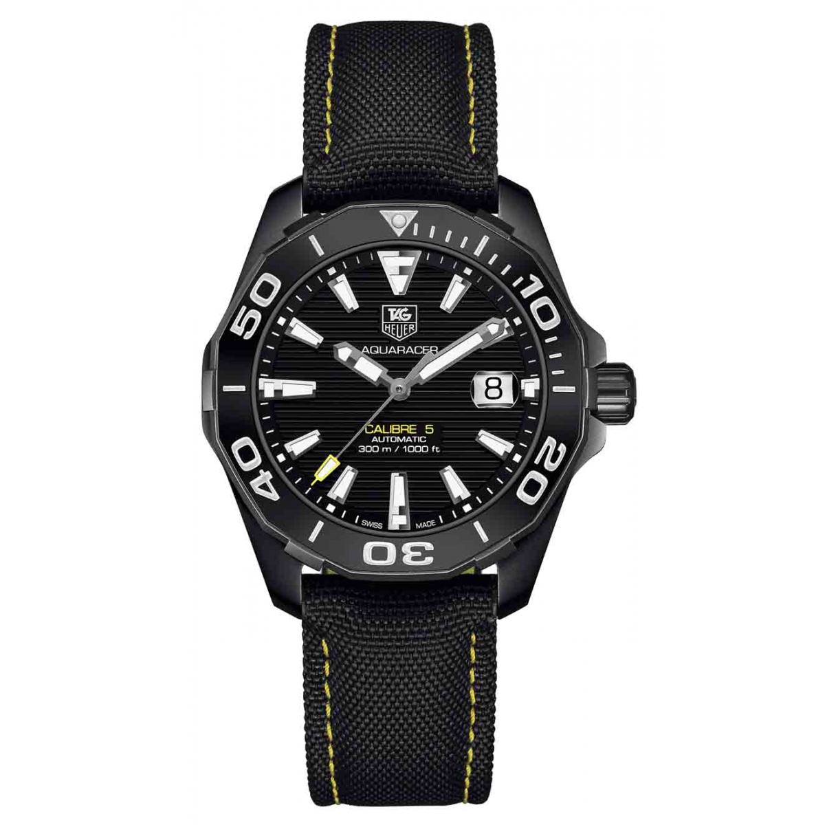 AQUARACER Calibre 5 Reloj automático 300 M - ∅41 mm, Esfera negra, Nailon negro Versión en negro