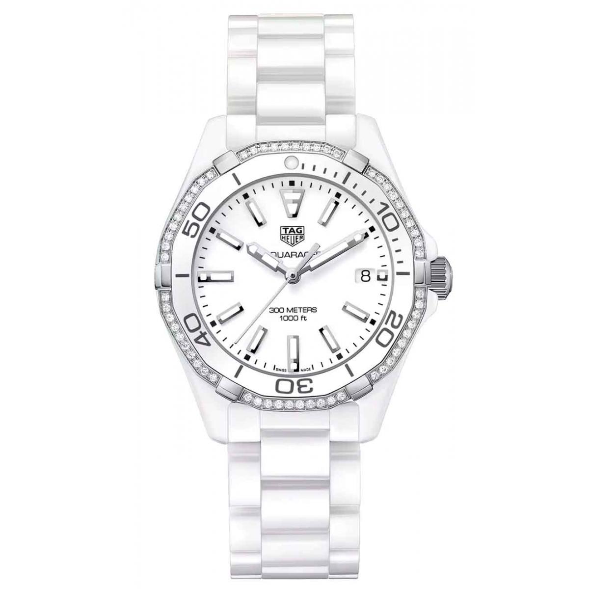 AQUARACER 300 M - ∅35 mm, Cuarzo, Diamantes, Esfera blanca Brazalete