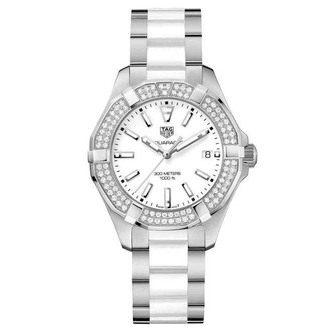 AQUARACER Lady 300 M - ∅35 mm, Cuarzo, Esfera blanca, Cerámica y diamantes
