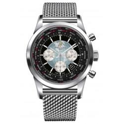 Breitling Transocean Chronograph Unitime - 100 M - ∅46 mm, Esfera negra, Acero