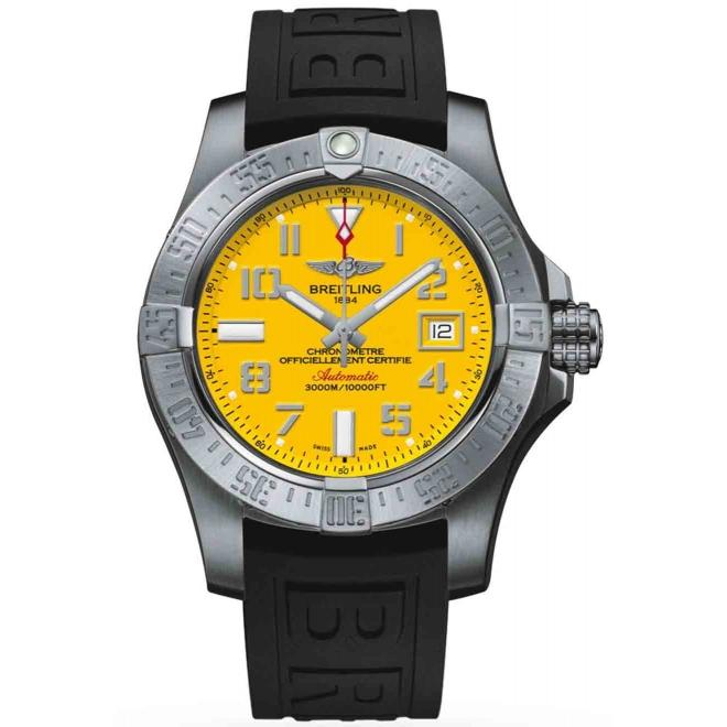 Breitling Avenger II Seawolf - 3000 M - ∅45 mm, Esfera Cobra Yellow, Caucho