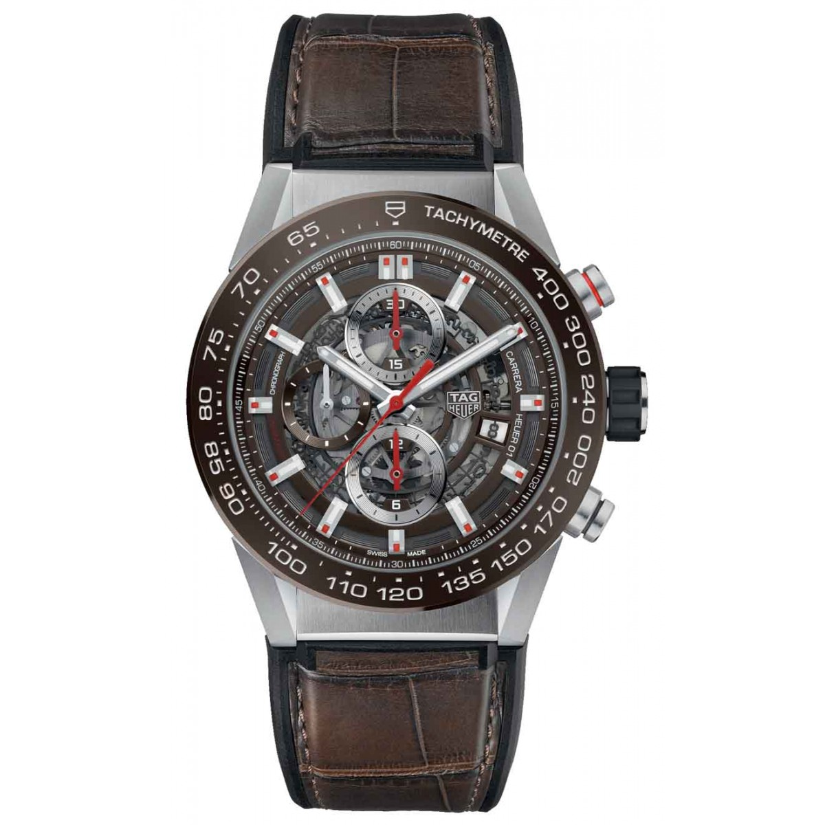 TAG HEUER CARRERA Calibre Heuer 01 Reloj automático 100 M - ∅43 mm, Esfera Marrón, Correa Piel