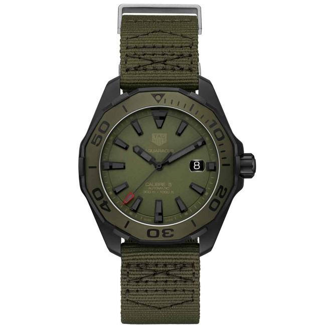 TAG HEUER AQUARACER Calibre 5 Reloj automático 300 M - ∅43 mm, Esfera caqui, correa de tela